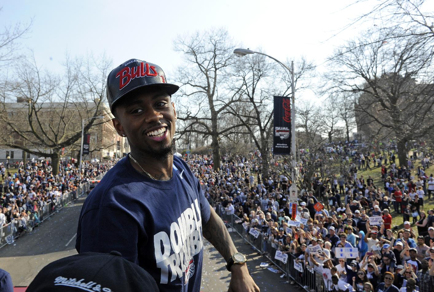 Connecticut's Ryan Boatright smiles during a parade celebrating the men's basketball team's in the NCAA tournament, in Hartford, Conn., on Sunday, April 13, 2014