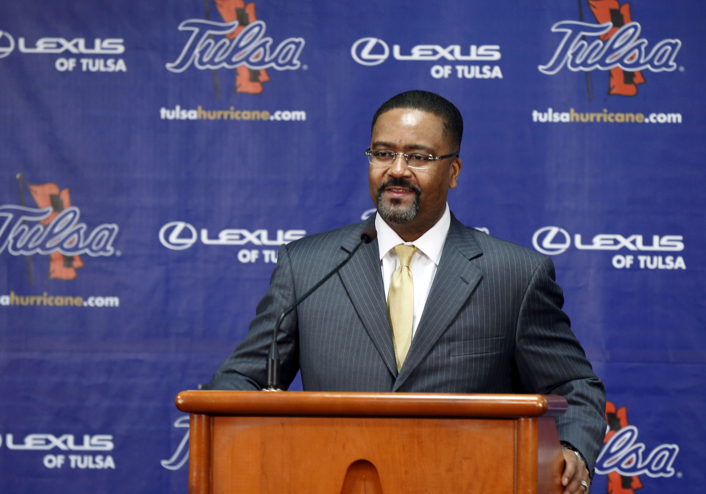 Frank Haith talks to reporters after being named Tulsa men's basketball coach, Friday, April 18, 2014, in Tulsa, Okla. Haith was 76-28 at Missouri. He replaces Danny Manning, who left for Wake Forest after two seasons in Tulsa