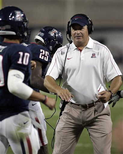 Rich Rodriguez has led Arizona to a 3-0 start in his first season with the Wildcats. (AP)