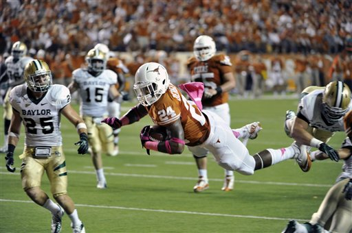 Texas running back Joe Bergeron scored five touchdowns in the Longhorns' victory over Baylor. (AP)