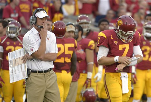 Lane Kiffin's Trojans are a disappointing 6-3 after opening the season as the top-ranked team. (AP)