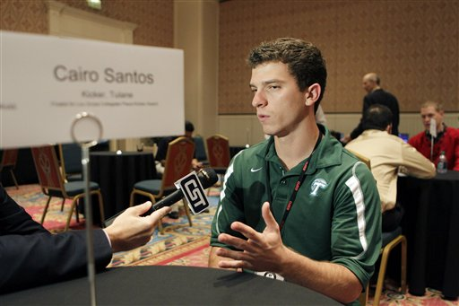 Cairo Santos answers questions prior to the College Football Awards show. (AP)