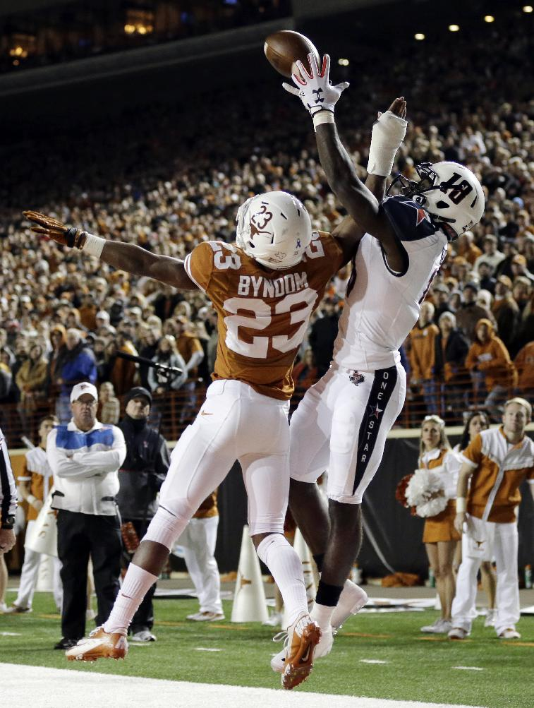 Texas Tech's Eric Ward, right, tries to make a catch over Texas defender Carrington Byndom (23) during the first half of an NCAA college football game Thursday, Nov. 28, 2013, in Austin, Texas. The pass was incomplete