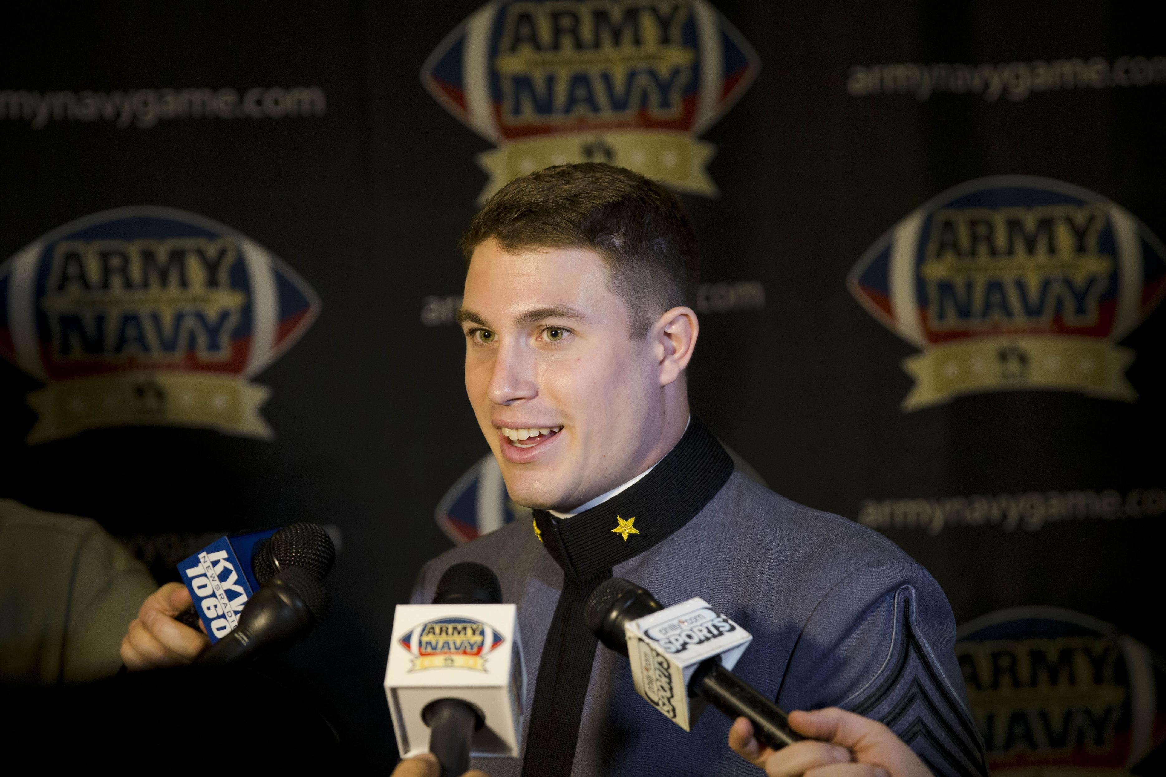 Army's Thomas Holloway speaks during a media availability, Wednesday, Dec. 4, 2013, in Philadelphia. Army and Navy NCAA college football teams are scheduled to play Saturday, Dec. 14 in Philadelphia