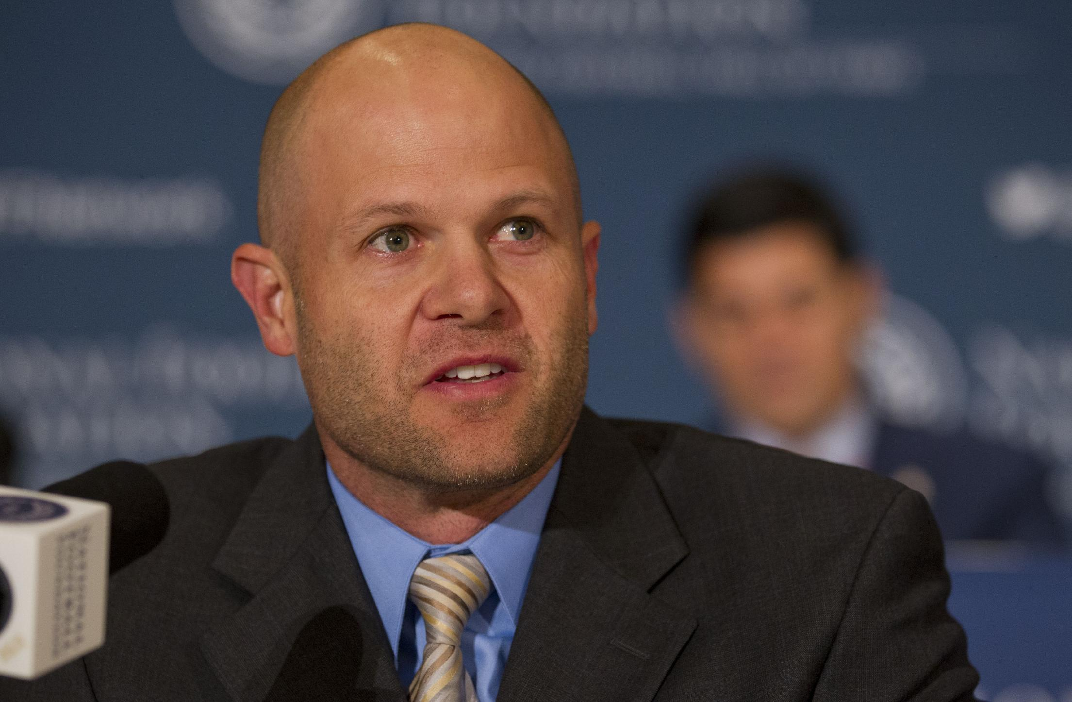 College Football Hall of Fame inductee Danny Wuerffel, a quarterback from Florida, speaks during the 56th National Football Foundation Annual Awards ceremonies on Tuesday, Dec. 10, 2013 in New York
