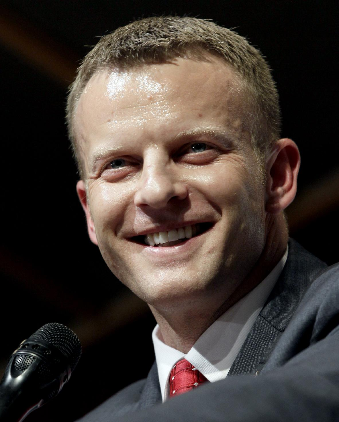In this Dec. 12, 2012 file photo, Arkansas State head coach Bryan Harsin speaks during an NCAA college football news conference in Jonesboro, Ark. A person familiar with the decision tells The Associated Press that Boise State has hired  Harsin as its next coach. The person spoke on condition of anonymity because the move had not become official