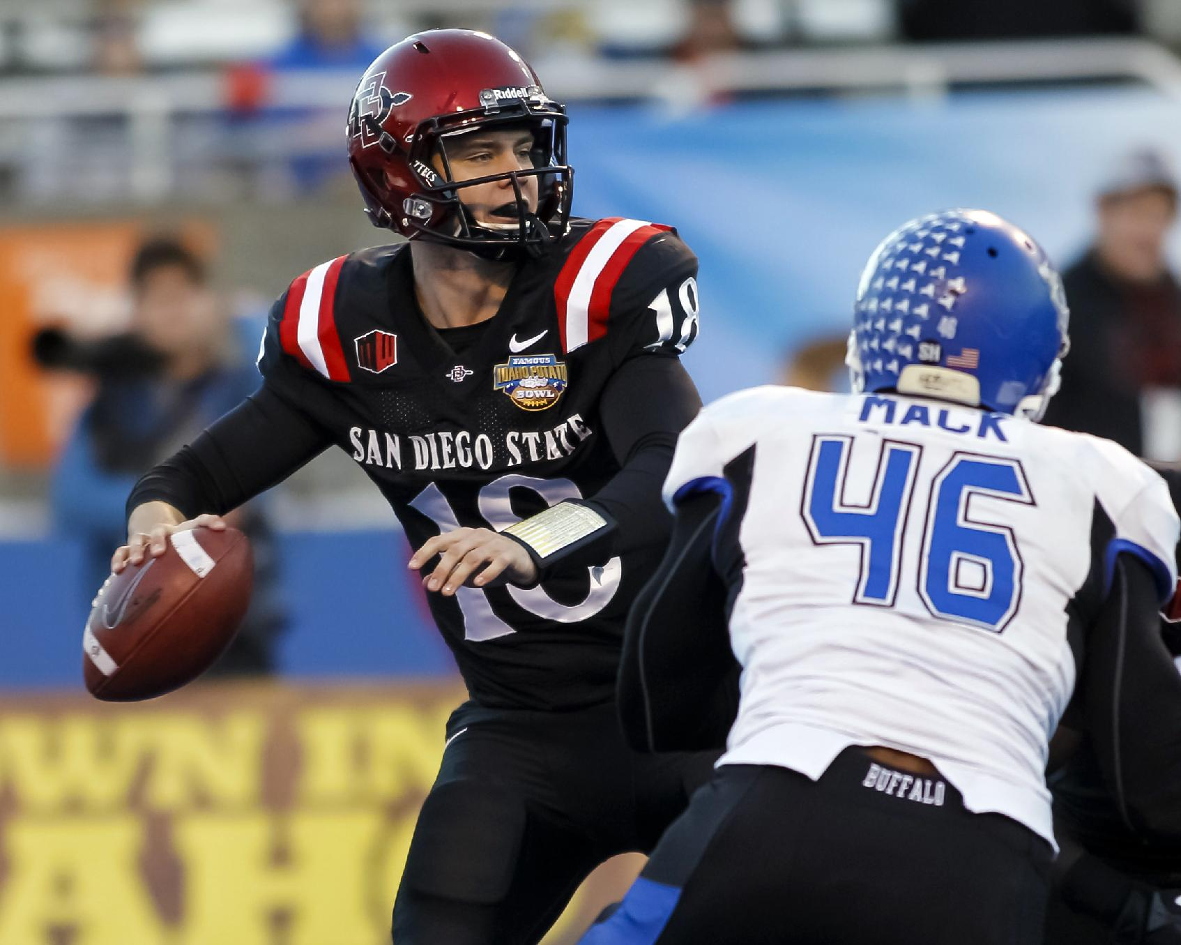 San Diego State quarterback Quinn Kaehler (18) looks for a receiver during the first half of the Famous Idaho Potato Bowl NCAA college football game against San Diego State in Boise, Idaho, on Saturday, Dec. 21, 2013