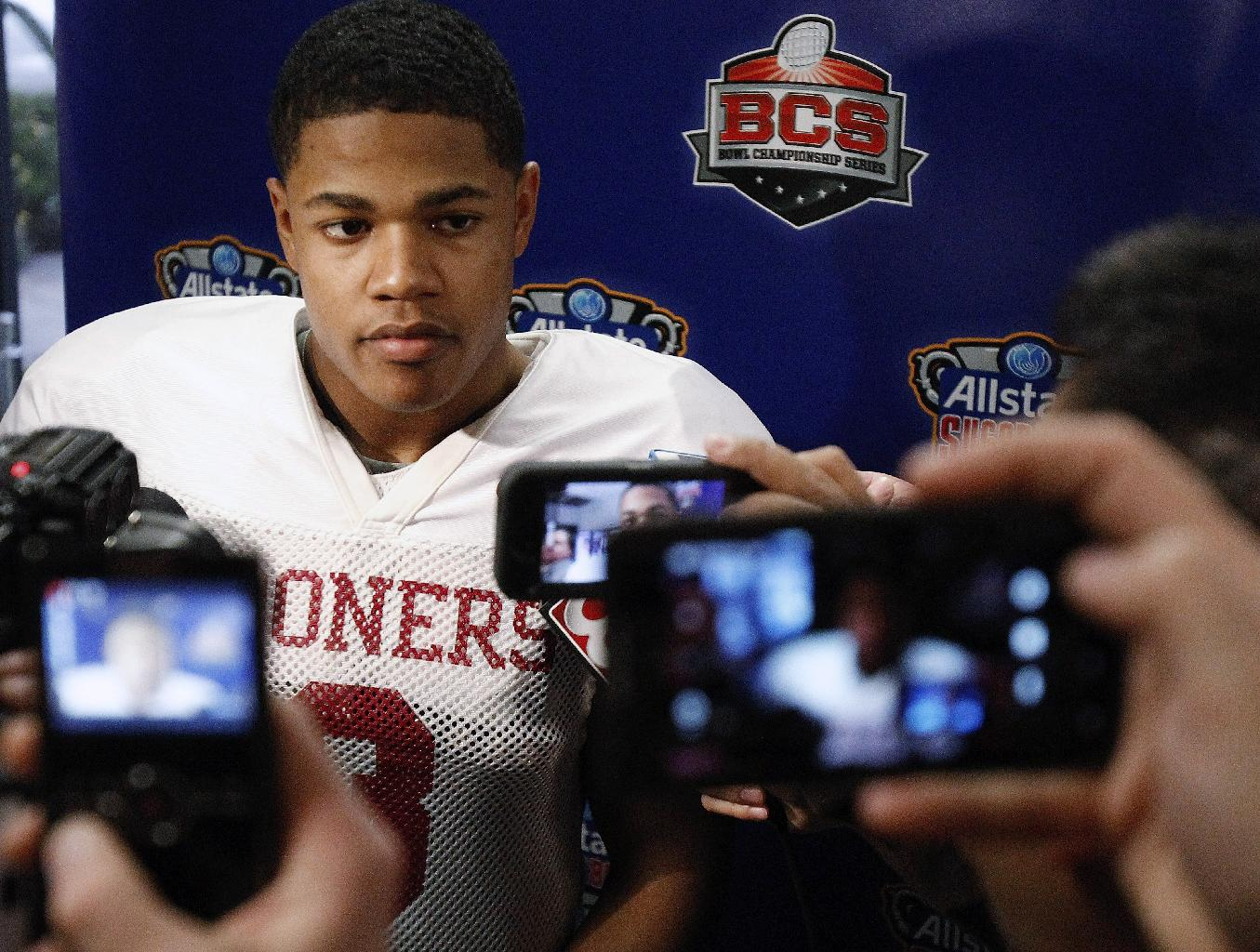 Oklahoma wide receiver Sterling Shepard (3) talks with the media at the conclusion of practice at the New Orleans Saints' practice facility in Metairie, La., Saturday, Dec. 28, 2013. Oklahoma will play Alabama in the Sugar Bowl NCAA college football game on Jan. 2