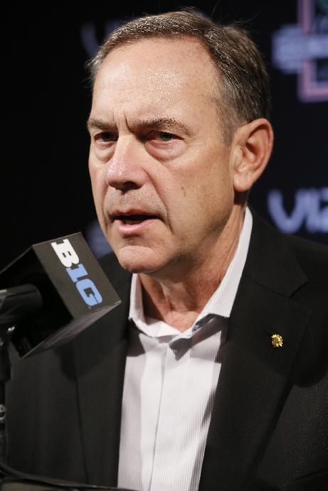 Michigan State head coach Mark Dantonio takes questions during media day on Sunday, Dec. 29, 2013, in Los Angeles. Michigan State is to face Stanford in the 100th Rose Bowl NCAA college football game on New Year's Day