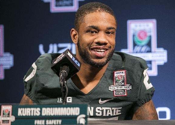 Michigan State free safety Kurtis Drummond takes questions during media day on Sunday, Dec. 29, 2013, in Los Angeles. Michigan State faces Stanford in the 100th Rose Bowl NCAA college football game on New Year's Day
