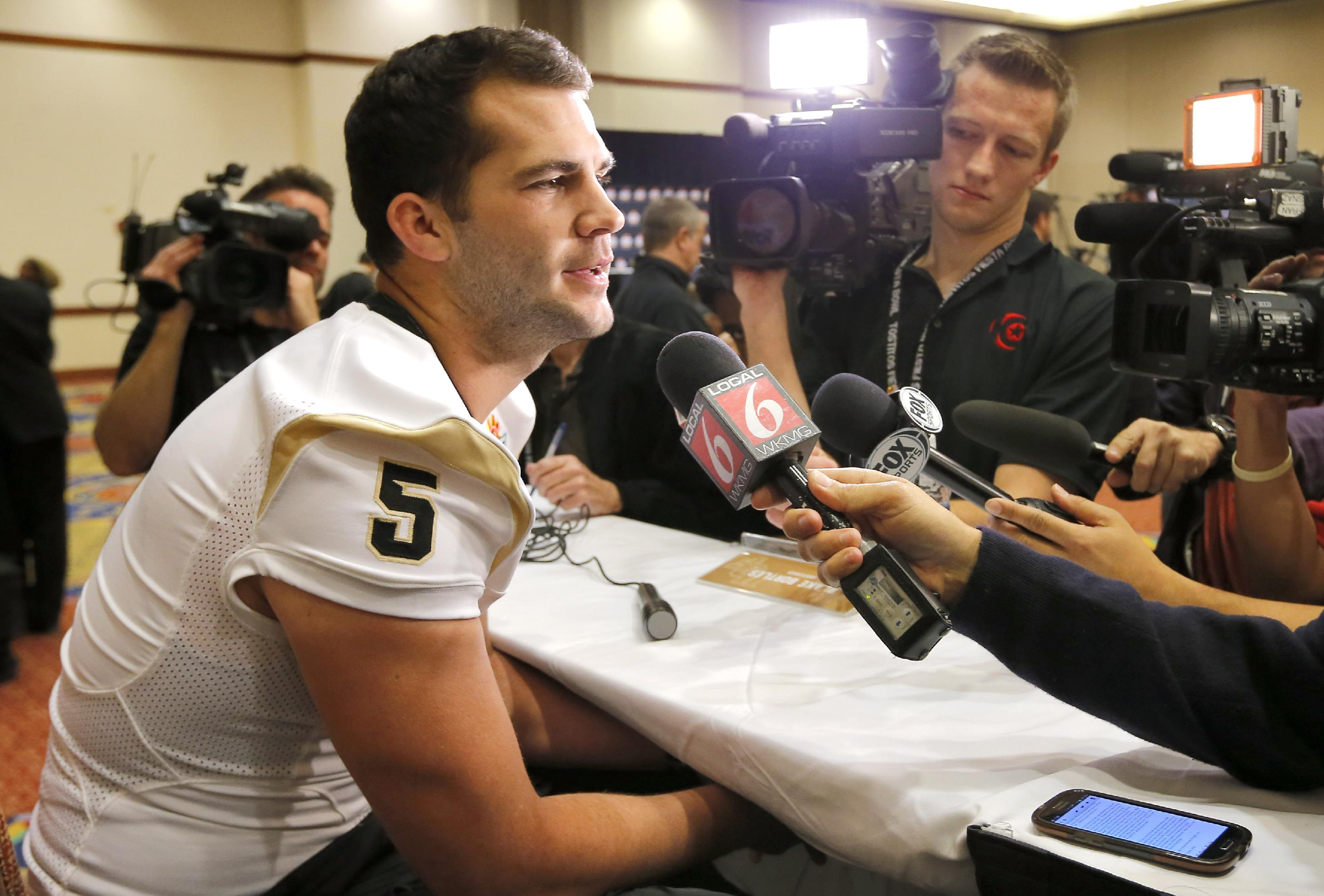 University of Central Florida quarterback Blake Bortles takes questions during the Fiesta Bowl media Day, Monday, Dec. 30, 2013, in Scottsdale, Ariz. Central Florida will face Baylor on Jan. 1, 2014 in the Fiesta Bowl NCAA college football game