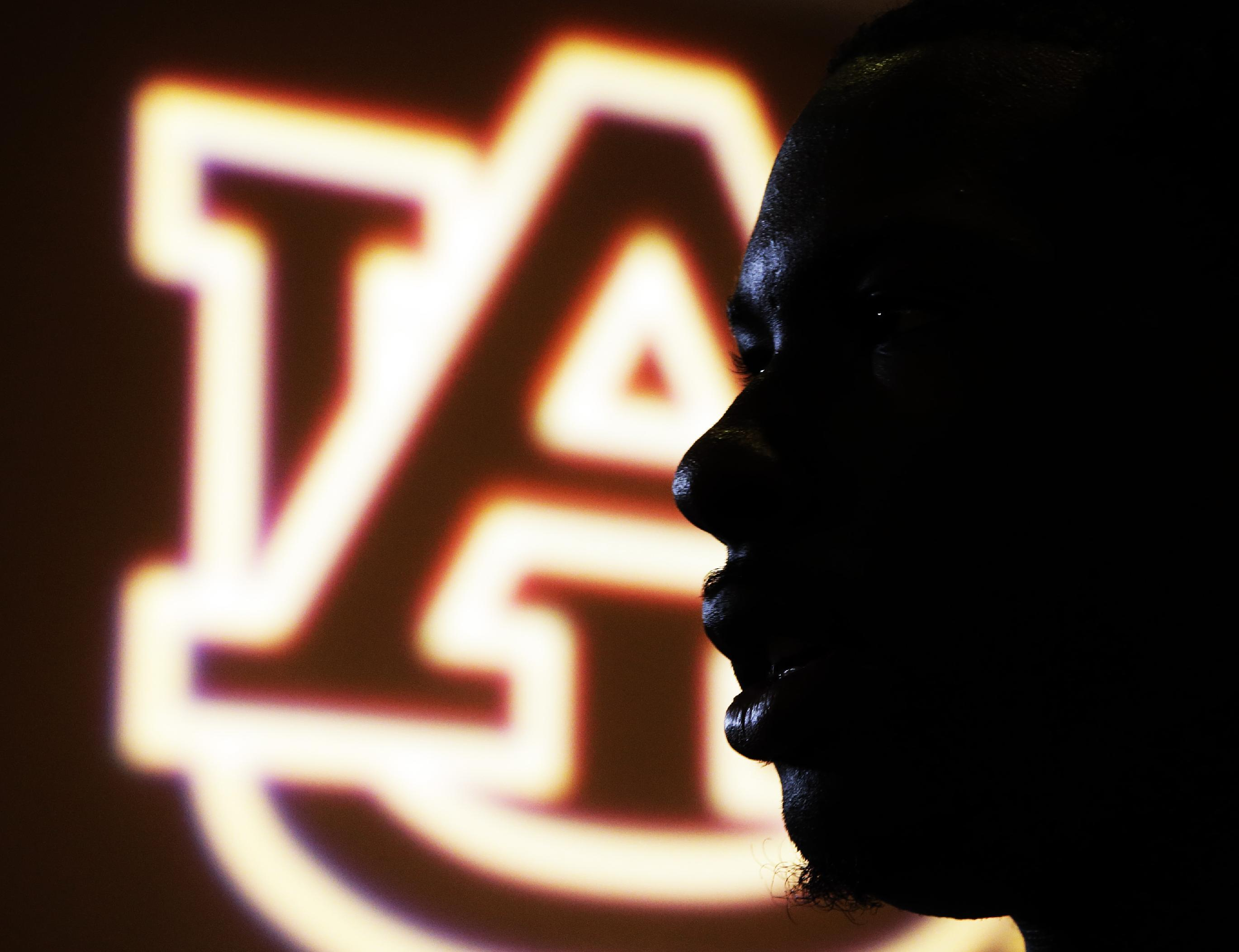 Auburn's Jeremy Johnson answers a question during media day for the NCAA BCS National Championship college football game Saturday, Jan. 4, 2014, in Newport Beach, Calif. Florida State plays Auburn on Monday, Jan. 6, 2014