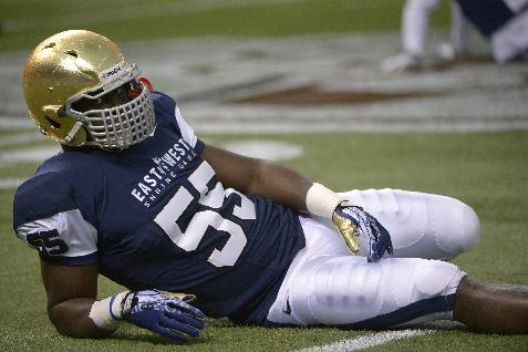 West linebacker Prince Shembo (55), of Notre Dame, stretches before the East-West Shrine Classic NCAA football game in St. Petersburg, Fla., Saturday, Jan. 18, 2014