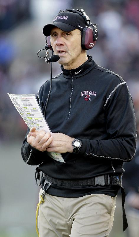In this Nov. 17, 2012 file photo, Harvard head coach Tim Murphy looks on from the sideline during the second half of their NCAA college football game against Yale in Cambridge, Mass. Harvard says Murphy is recovering at home from a