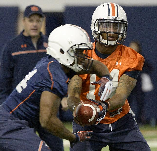 In this photo taken on Tuesday, March 18, 2014, Auburn quarterback Nick Marshall (14) hands off to running back Cameron Artis-Payne (44) during Auburn's first spring NCAA college football practice at the Auburn Athletic Complex in Auburn, Ala. (AP PHOTO/AL.com, Julie Bennett)