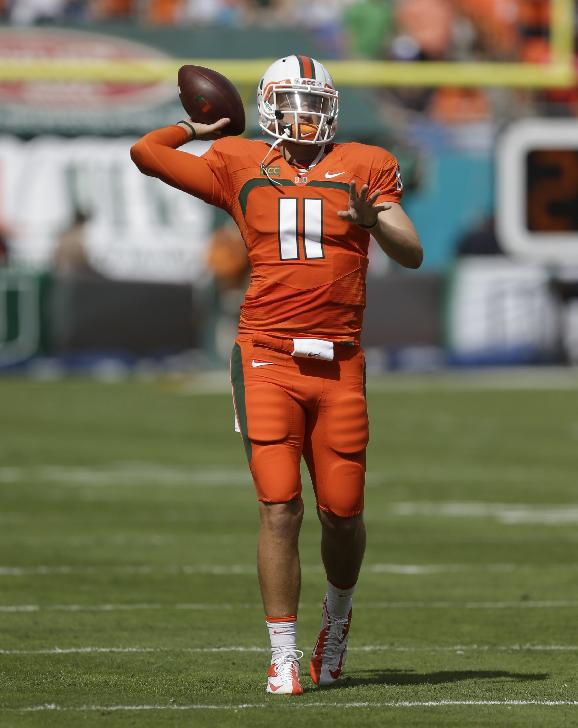 Miami quarterack Ryan Williams is shown before an NCAA college football game against Wake Forest, Saturday, Oct. 26, 2013, in Miami Gardens, Fla. Miami won 24-21