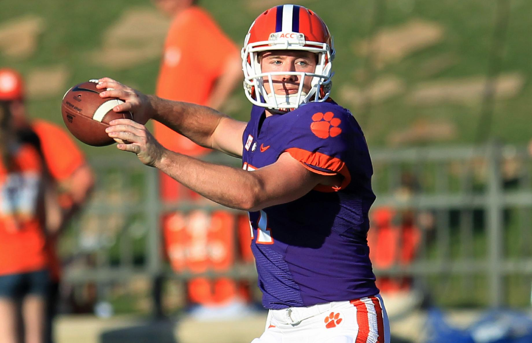 Clemson quarterback Austin McCaskill throws a pass during the NCAA college football team's spring game at Memorial Stadium in Clemson, S.C., on Saturday, April 12, 2014