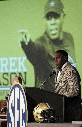 Vanderbilt Coach Derek Mason speaks to media at SEC media days on Monday, July 14, 2014, in Hoover, Ala
