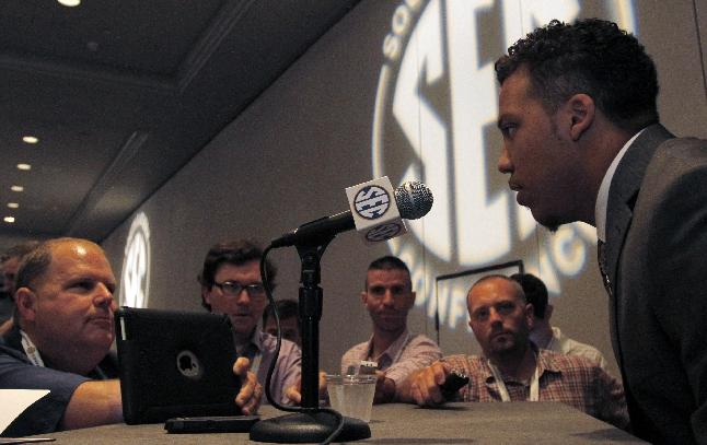 Vanderbilt safety Andrew Williamson speaks to media at SEC media days on Monday, July 14, 2014, in Hoover, Ala