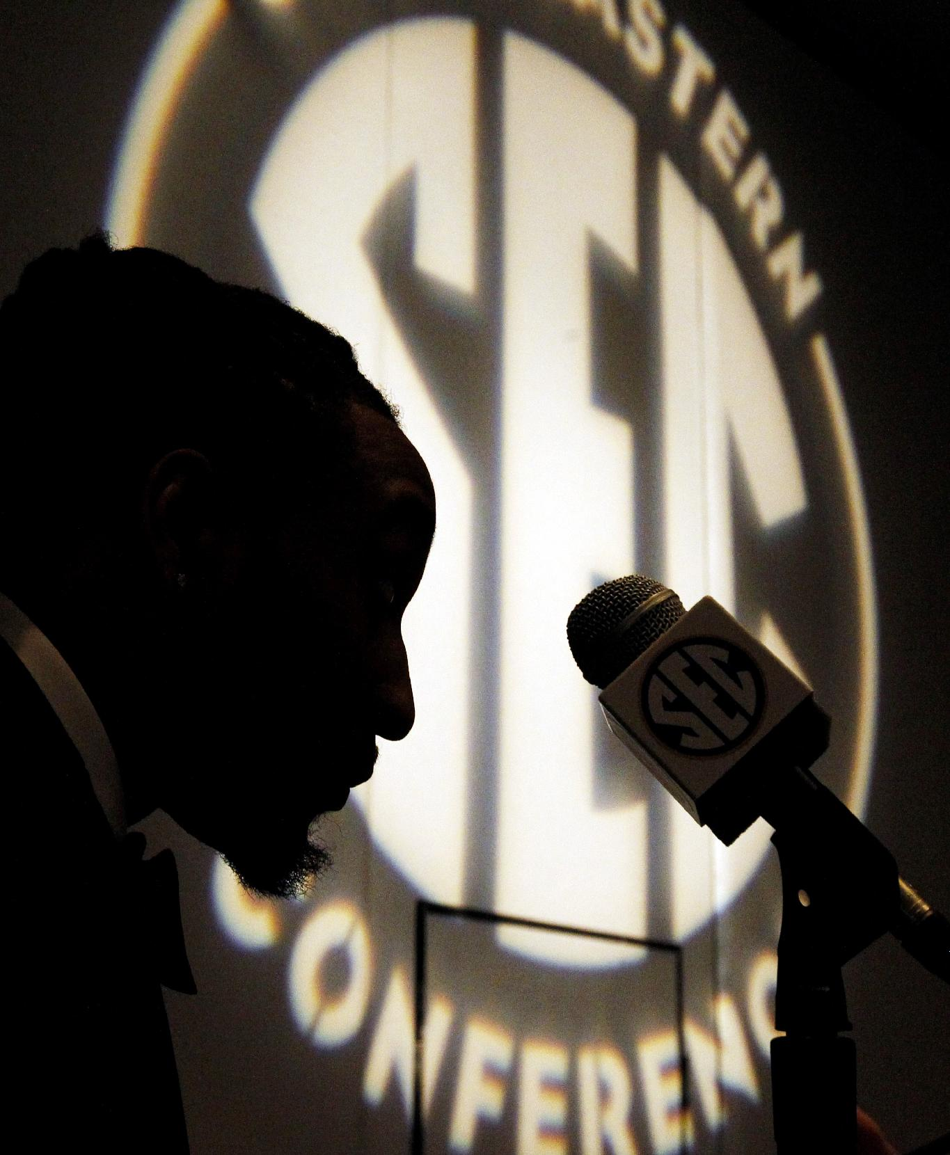 Arkansas safety Alan Turner speaks to the media at the Southeastern Conference NCAA college football media days, Wednesday, July 16, 2014, in Hoover, Ala