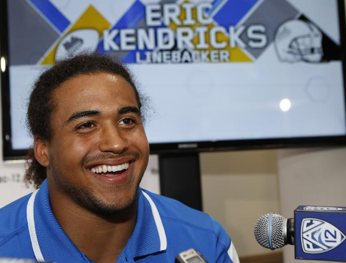 UCLA linebacker Eric Kendricks takes questions at the Pac-12 NCAA college football media days at Paramount Studios in Los Angeles, Thursday, July 24, 2014. (AP Photo)
