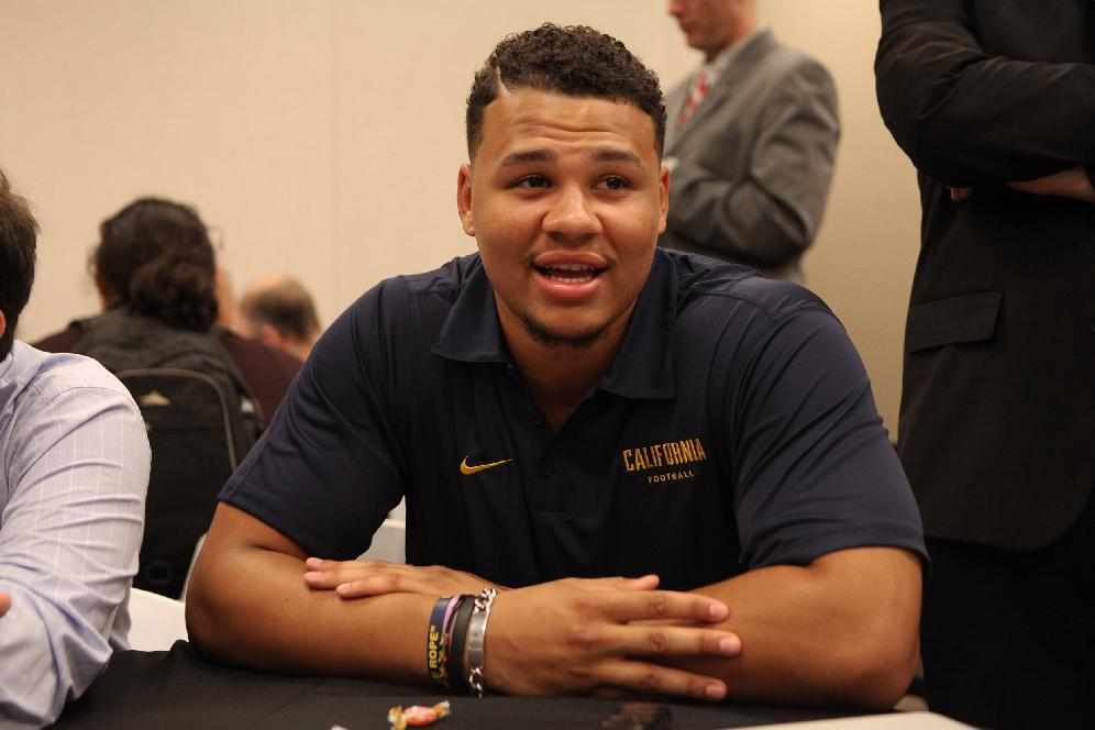 California defensive end Brennan Scarlett takes questions during the annual Bay Area college football media day at Levi's Stadium on Wednesday, July 30, 2014, in Santa Clara, Calif