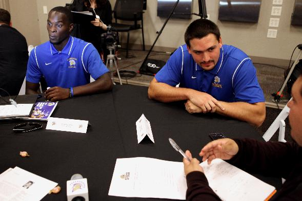 San Jose State players Jabari Carr, left, and David Peterson  answer questions during the annual Bay Area college football media day at Levi's Stadium on Wednesday, July 30, 2014, in Santa Clara, Calif