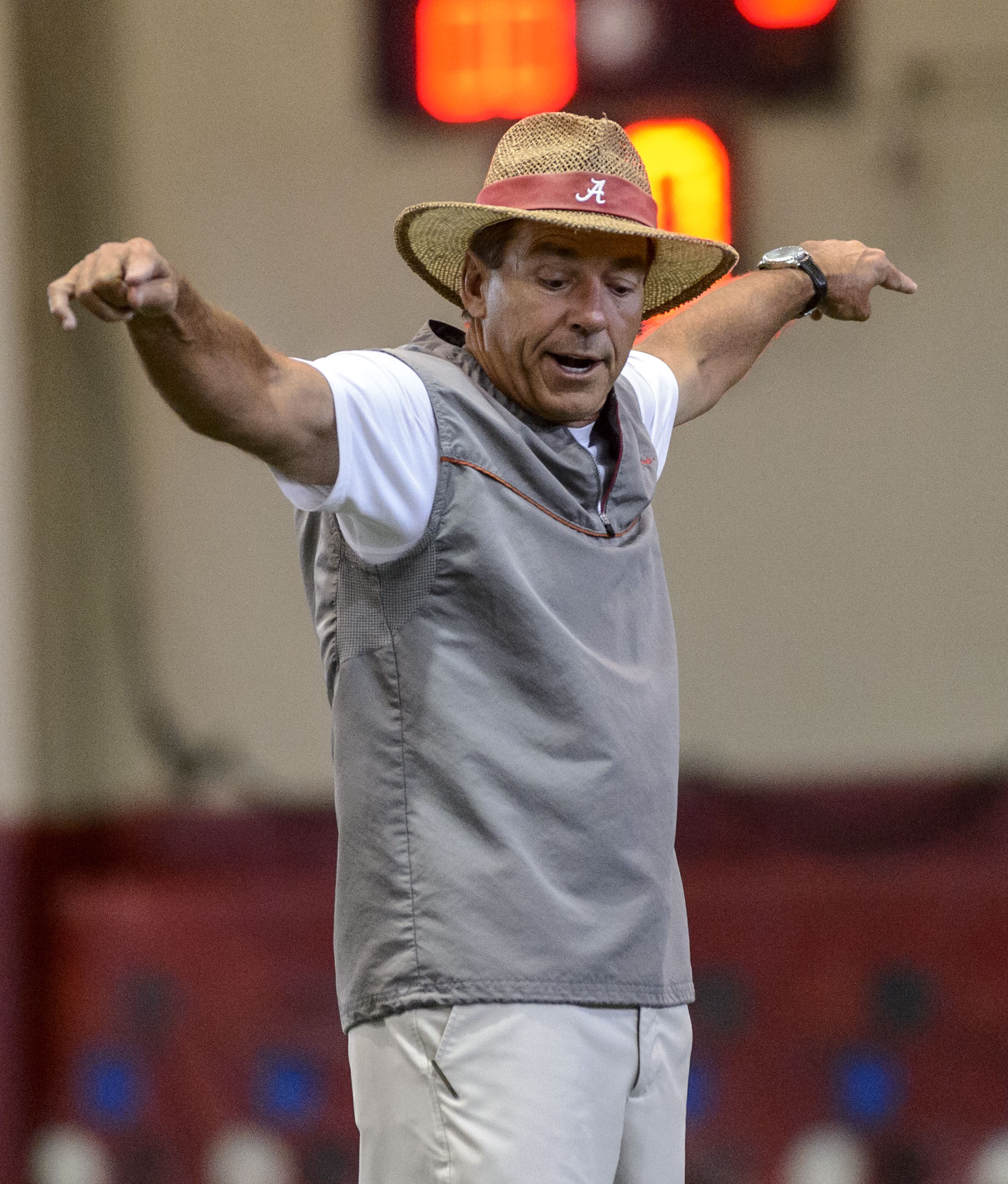 Alabama  coach Nick Saban directs defensive backs during drills at the NCAA college football team's practice, Thursday, Aug. 7, 2014, in Tuscaloosa, Ala