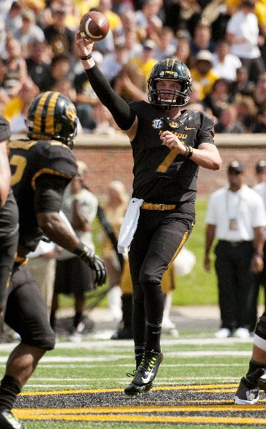Missouri quarterback Maty Mauk throws a pass during the second quarter of an NCAA college football game against South Dakota State Saturday, Aug. 30, 2014, in Columbia, Mo. Missouri won the game 38-18