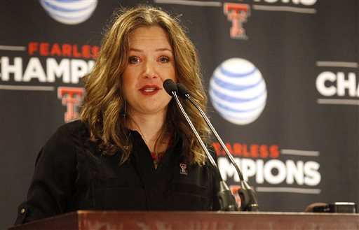 Candi Whitaker, Texas Tech new women's basketball, addresses the media after she was introduced during a news conference Wednesday, May 22, 2013, in Lubbock, Texas