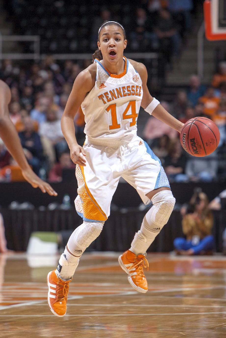 In this Nov. 1, 2012, file photo, Tennessee guard Andraya Carter brings the ball up court against Carson-Newman University during a NCAA women's basketball game in Knoxville, Tenn  Carter's teammates say she developed into a team leader as a freshman last year despite missing most of the season with a shoulder injury. Now she's back on the floor and ready to boost a point guard position that lacked depth last season