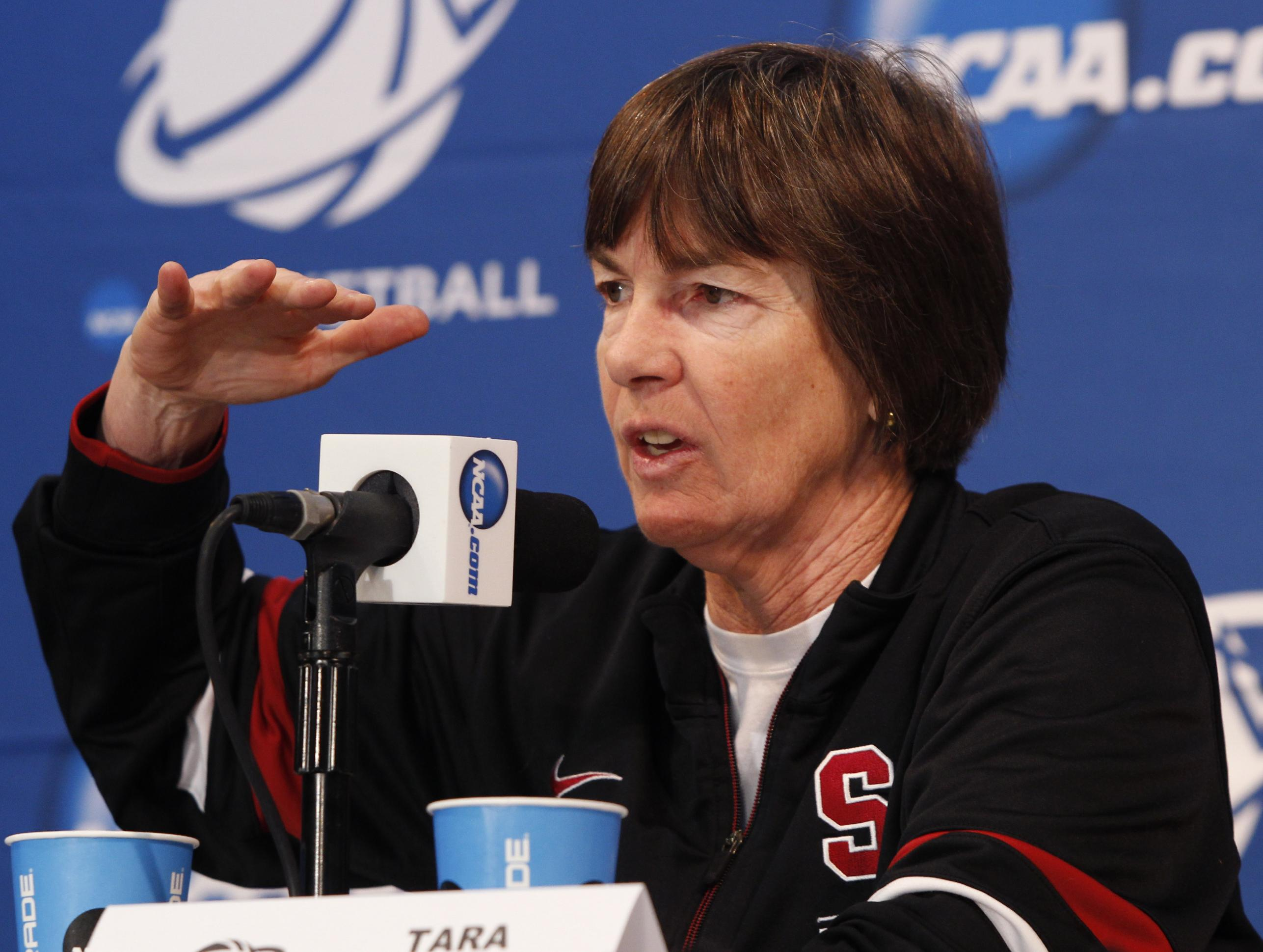 Stanford head coach Tara VanDerveer speaks at a news conference before practice for the second round of the women's NCAA basketball tournament, Monday, March 25, 2013 in Stanford, Calif.  Stanford will play Michigan on Tuesday