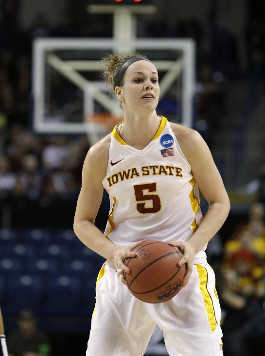 Iowa State's Hallie Christofferson in action against Gonzaga during a first-round game in the women's NCAA college basketball tournament in Spokane, Wash., Saturday, March 23, 2013