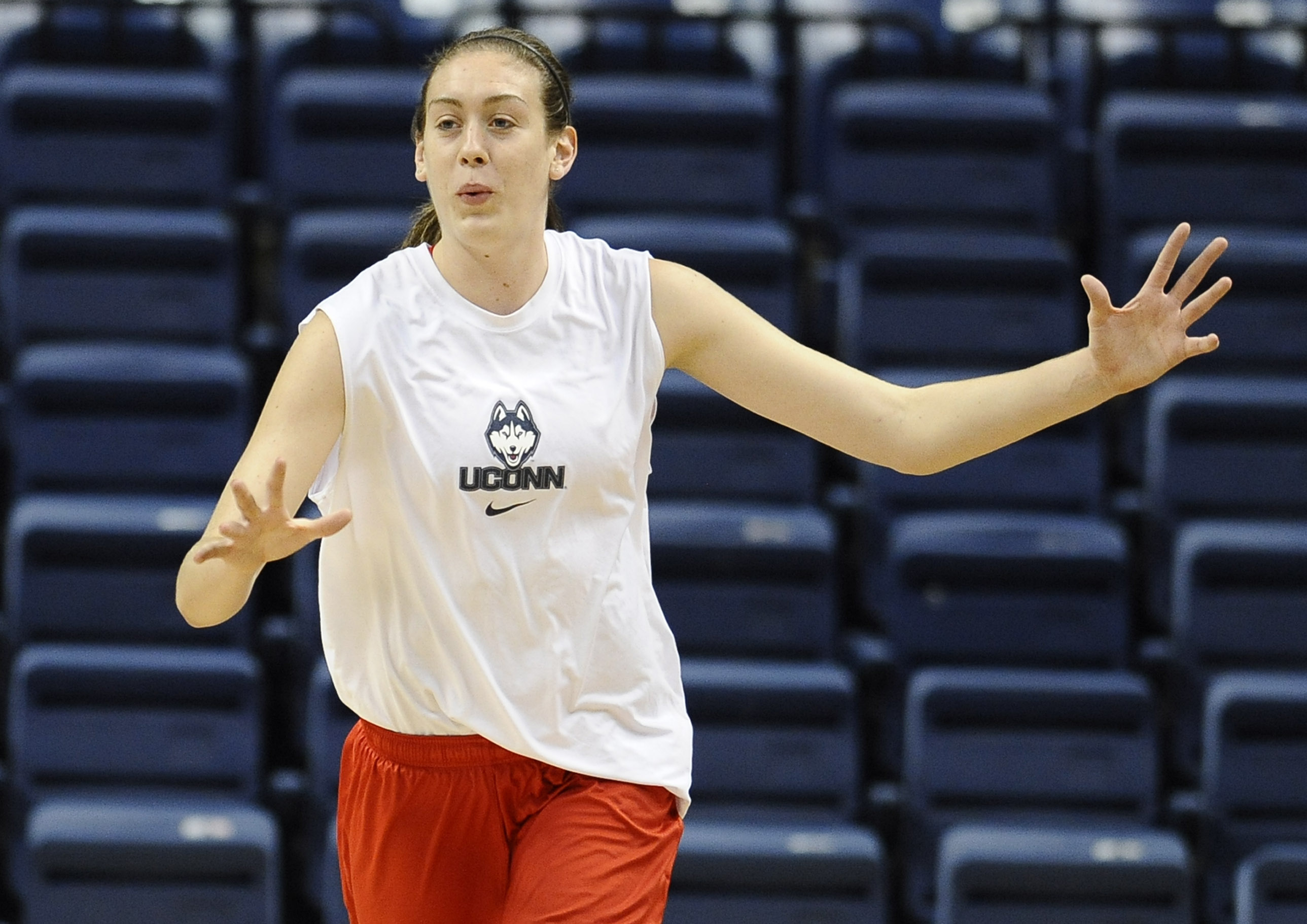 Connecticut's Breanna Stewart practices after the team's NCAA college basketball media day, Monday, Sept. 30, 2013, in Storrs, Conn