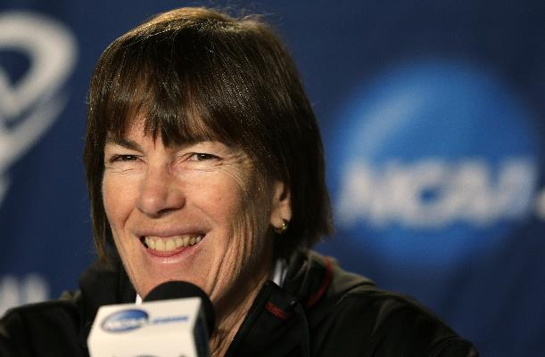 Stanford head coach Tara VanDerveer smiles during a news conference before practice for a regional semifinal game in the women's NCAA college basketball tournament Friday, March 29, 2013, in Spokane, Wash. Stanford plays Georgia on Saturday