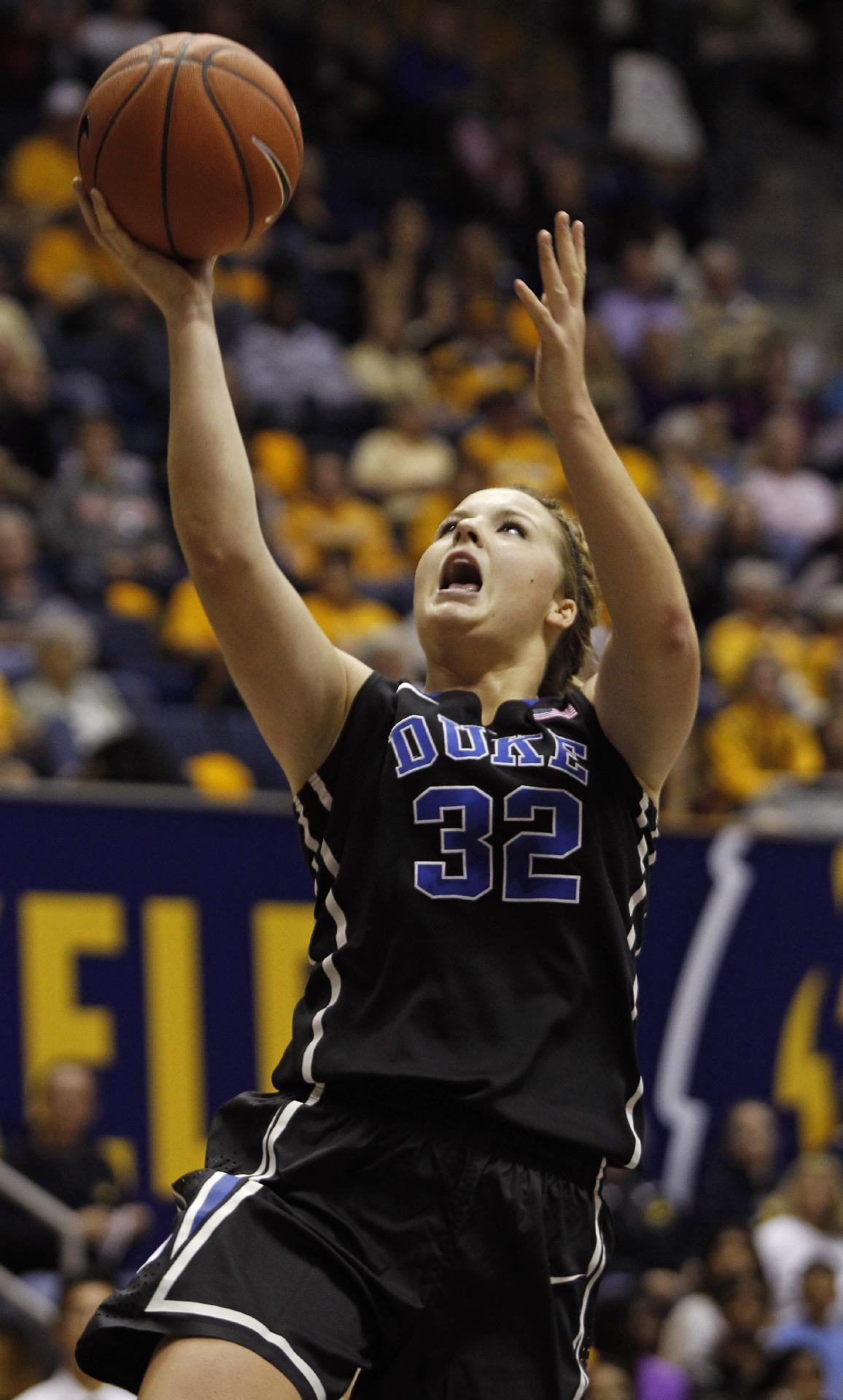Duke's Tricia Liston shoots against California during the first half of an NCAA college basketball game, Sunday, Nov. 10, 2013 in Berkeley, Calif