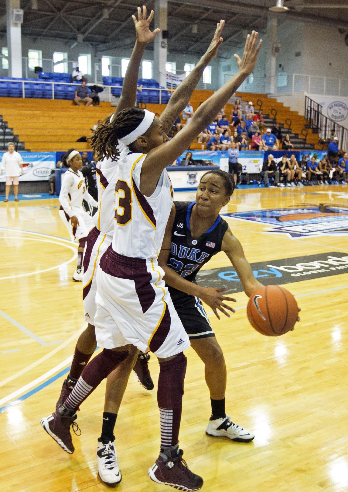 Duke's Oderah Chidom, right, passes the ball around Central Michigan's Crystal Bradford during the first half of an NCAA college basketball game in St. Thomas, U.S. Virgin Islands, Friday, Nov. 29, 2013