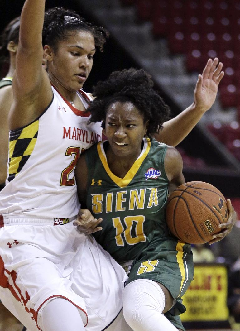 Siena guard Allison Mullings (10) collides with Maryland forward Alyssa Thomas as she drives the ball in the first half of an NCAA college basketball game in College Park, Md., Monday, Dec. 9, 2013