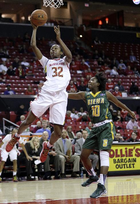 Maryland guard Shatori Walker-Kimbrough, left, shoots over Siena guard Allison Mullings in the second half of an NCAA college basketball game in College Park, Md., Monday, Dec. 9, 2013