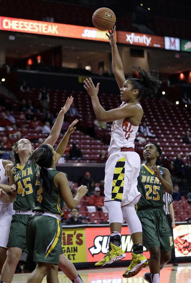 Maryland forward Alyssa Thomas, center, shoots over Siena forward Meghan Donohue, from bottom left, guard Brianna Logan and guard Tehresa Coles in the second half of an NCAA college basketball game in College Park, Md., Monday, Dec. 9, 2013. Thomas earned a triple-double in Maryland's 105-49 win