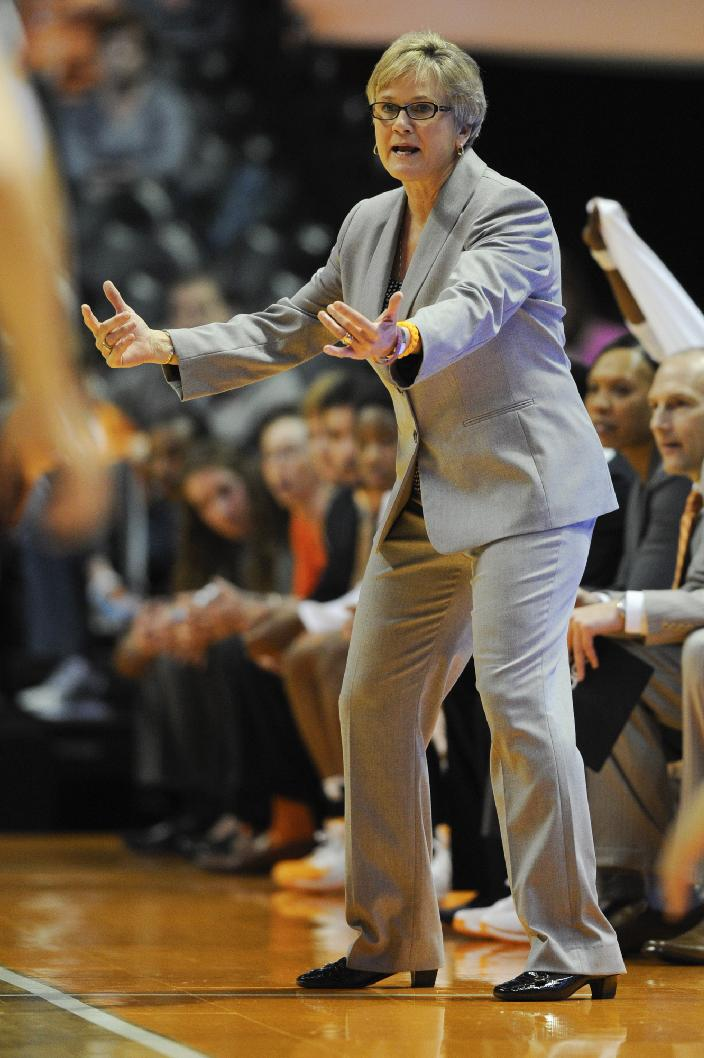 Tennessee coach Holly Warlick reacts to a play in the first half of an NCAA college basketball game against Lipscomb Sunday, Dec. 29, 2013, in Knoxville, Tenn