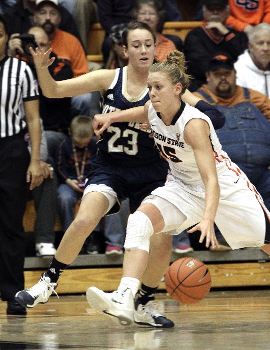Oregon State guard Jamie Weisner, right, drives against Notre Dame guard Michaela Mabrey during the second half of an NCAA college basketball game in Corvallis, Ore., Sunday, Dec. 29, 2013. Weisner topped Oregon State scorers with 18 points as Notre Dame won 70-58