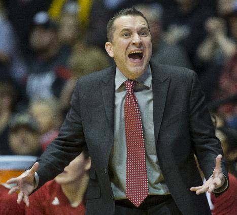 Indiana coach Curt Miller calls out instructions to his team during an NCAA college basketball game against Purdue, Friday, Jan. 17, 2014, in West Lafayette, Ind. Purdue won 86-53