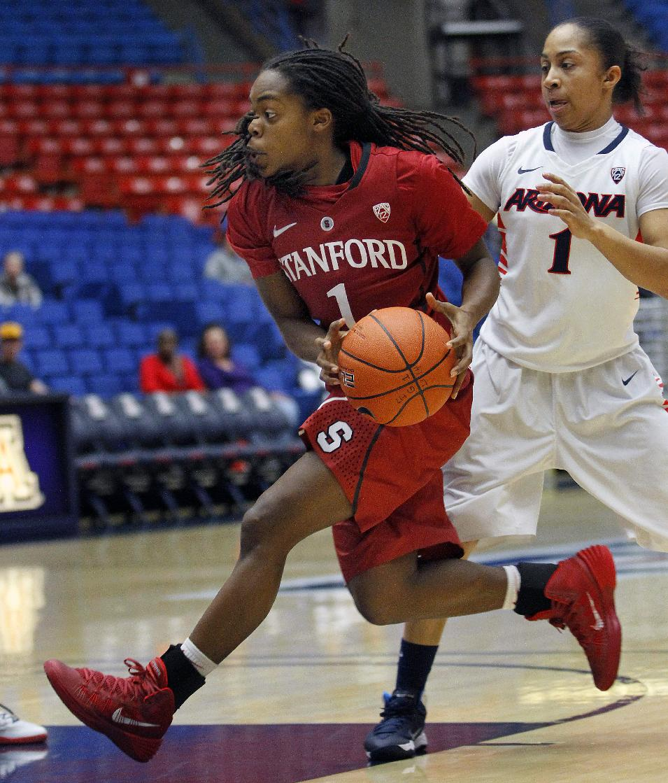 Stanford's Lili Thompson (1) drives pass Arizona's Candrice Warthen (1) for a layup in the first half of an NCAA college basketball game on Friday, Jan. 17, 2014, in Tucson, Ariz