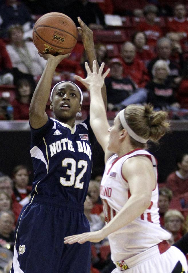 Notre Dame guard Jewell Loyd, left, shoots over Maryland guard Katie Rutan in the first half of an NCAA college basketball game in College Park, Md., Monday, Jan. 27, 2014