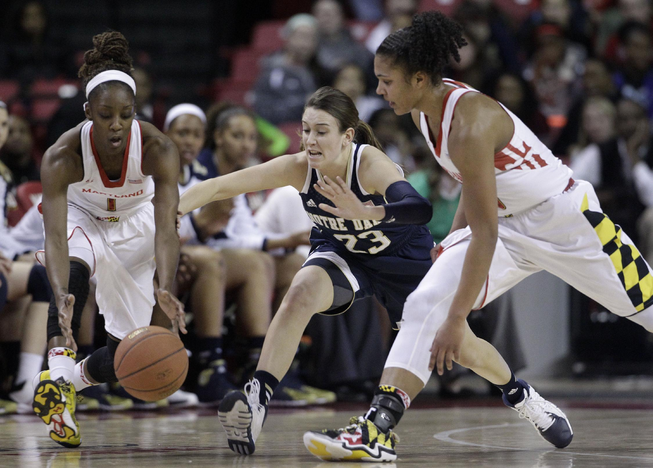Maryland guard Laurin Mincy, left, Notre Dame guard Michaela Mabrey, center, and Maryland forward Alyssa Thomas chase after a loose ball in the first half of an NCAA college basketball game in College Park, Md., Monday, Jan. 27, 2014