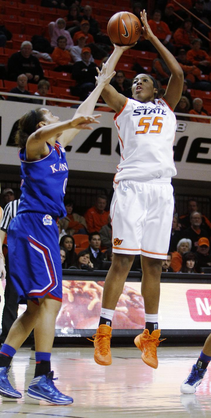 Oklahoma State's LaShawn Jones (55) shoots a jump shot during an NCAA women's college basketball game between Oklahoma State University (OSU) and Kansas at Gallagher-Iba Arena in Stillwater, Okla., Wednesday, Feb. 5, 2014. Oklahoma State defeated Kansas 76-74
