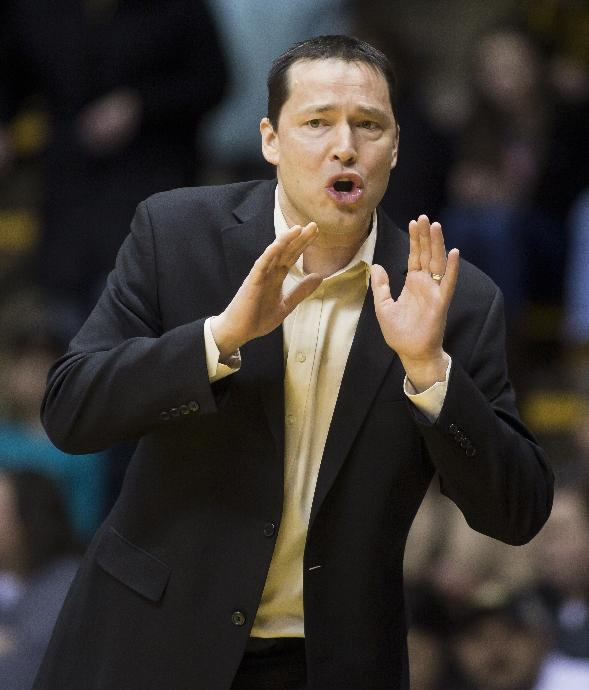 Ohio State coach Kevin McGuff calls out instructions to his team during an NCAA college basketball game against Purdue, Thursday, Feb. 6, 2014, in West Lafayette, Ind. Purdue won 74-58