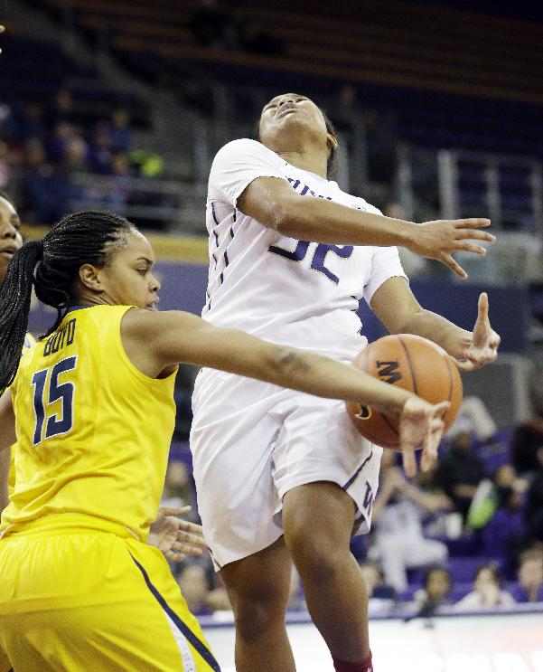California's Brittany Boyd (15) knocks the ball away from Washington's Jazmine Davis in the second half of an NCAA women's basketball game Friday, Feb. 7, 2014, in Seattle. Cal won 70-65