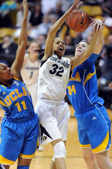 Colorado's Arielle Roberson has her shot blocked from behind by UCLA's Corinne Costa during the second half of an NCAA college basketball game Friday, Feb. 28, 2014, in Boulder, Colo. Colorado won 62-42